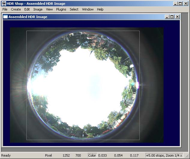 Select the area of the fisheye by draging the mouse